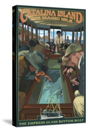 Catalina Island, California - Empress Glass Bottom Boat-Lantern Press-Stretched Canvas Print