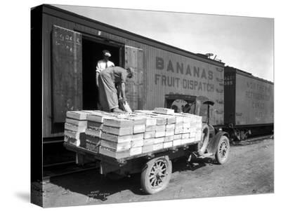 Loading Peaches in Car at Donald, 1928-Asahel Curtis-Stretched Canvas Print
