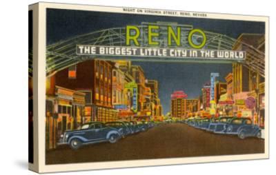 Night, Virginia Street, Reno, Nevada--Stretched Canvas Print