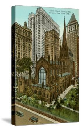 Trinity Church, Skyscrapers, New York City--Stretched Canvas Print