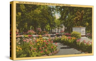 Park with Flowers, Portland, Oregon--Stretched Canvas Print