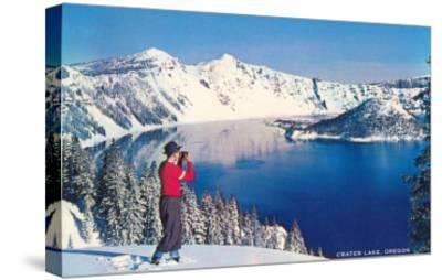 Crater Lake in Winter, Oregon--Stretched Canvas Print