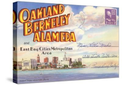 Postcard Folder, Oakland, Berkeley, Alameda, California--Stretched Canvas Print