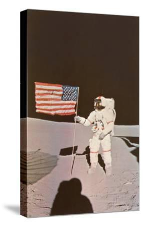 Astronaut with Flag on Moon--Stretched Canvas Print