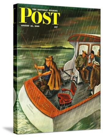 """""""Deep Sea Fishing in Rain,"""" Saturday Evening Post Cover, August 31, 1946-Constantin Alajalov-Stretched Canvas Print"""
