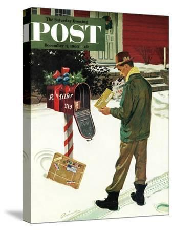 """Merry Christmas from the IRS,"" Saturday Evening Post Cover, December 17, 1960-Ben Kimberly Prins-Stretched Canvas Print"