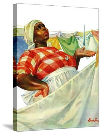 """""""Rain on Laundry Day,"""" June 15, 1940-Mariam Troop-Stretched Canvas Print"""