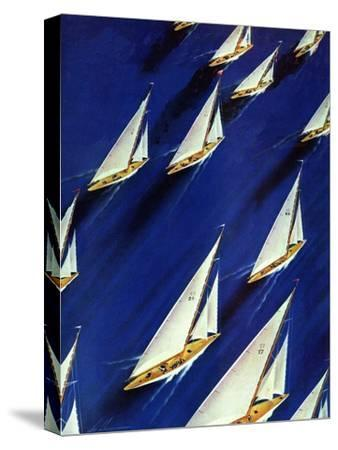 """""""Sailboat Regatta,"""" June 29, 1940-Ski Weld-Stretched Canvas Print"""