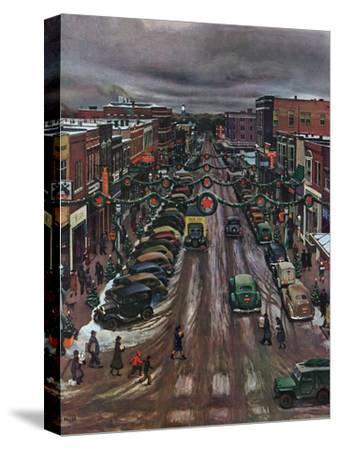 """Falls City, Nebraska at Christmas,"" December 21, 1946-John Falter-Stretched Canvas Print"