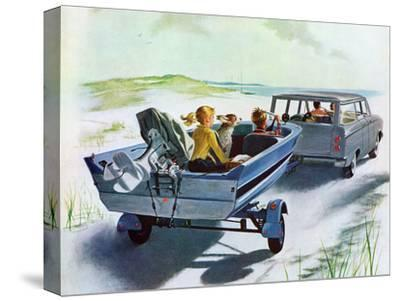 """""""Highway Boatride,"""" July 14, 1962-George Hughes-Stretched Canvas Print"""