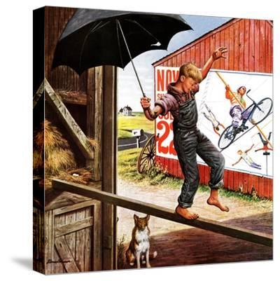 """""""Walking the Tightrope,"""" June 11, 1949-Stevan Dohanos-Stretched Canvas Print"""