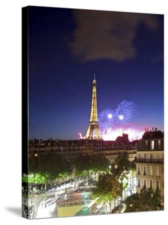 Bastille Day Fireworks, Eiffel Tower, Paris, France-Jon Arnold-Stretched Canvas Print