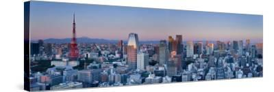 Tokyo Tower and Mt; Fuji from Shiodome, Tokyo, Japan-Jon Arnold-Stretched Canvas Print