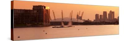 Uk, England, London, Royal Victoria Dock, Canary Wharf Skyline and O2 Arena (Millennium Dome)-Alan Copson-Stretched Canvas Print