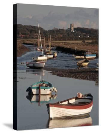 England, Norfolk, Morston Quay; Rowing Boats and Sailing Dinghies at Low Tide-Will Gray-Stretched Canvas Print
