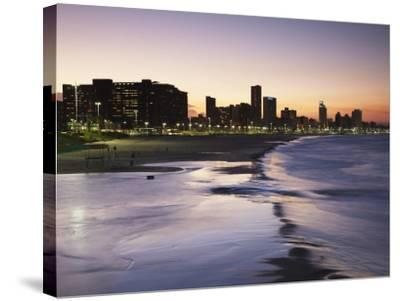 View of City Skyline and Beachfront at Sunset, Durban, Kwazulu-Natal, South Africa-Ian Trower-Stretched Canvas Print