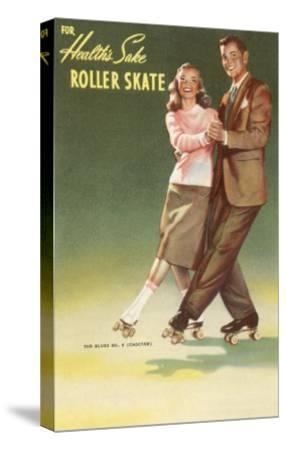 Roller Skating Couple--Stretched Canvas Print