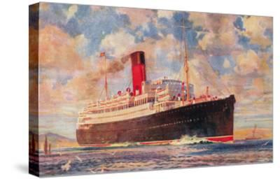Ocean Liner with Clouds--Stretched Canvas Print