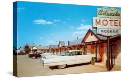 El Rancho Vintage Motel, Cadillac with Fins--Stretched Canvas Print