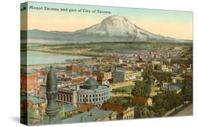 Mt. Tacoma and Downtown Tacoma, Washington--Stretched Canvas Print
