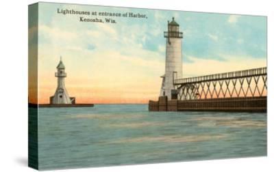 Lighthouses, Kenosha, Wisconsin--Stretched Canvas Print