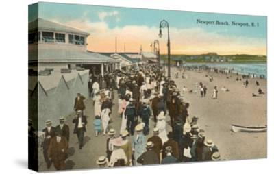 Beach and Boardwalk, Newport, Rhode Island--Stretched Canvas Print