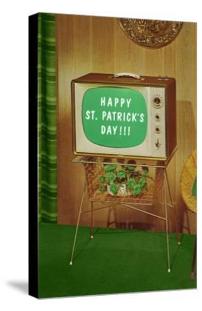 Happy St. Patrick's Day, Green Screen TV--Stretched Canvas Print