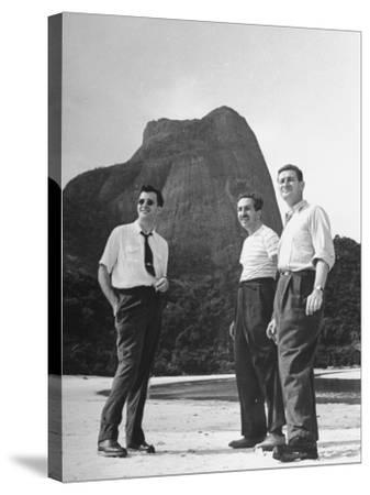 Artist Franklin Thomas Standing with Walt Disney on Brazilian Beach--Stretched Canvas Print
