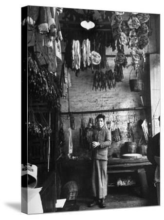 A Butcher Showing His Wares in His Shop--Stretched Canvas Print