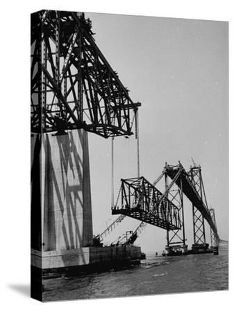 Chesapeake Bay Bridge, Final Span of 4-Mile-Long Bridge Fitted into Place--Stretched Canvas Print