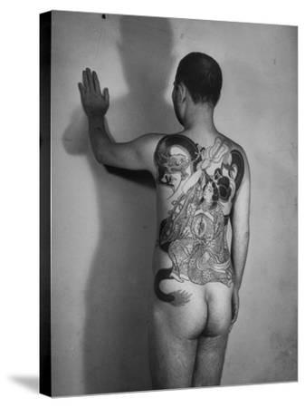 Tattoo of a Buddhist Goddess of Happiness on Back of Japanese Boss Gambler--Stretched Canvas Print
