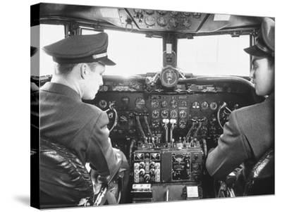 The Cockpit of a United Airlines Dc-4--Stretched Canvas Print