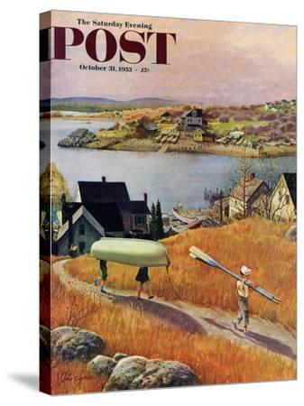 """Children with Rowboat"" Saturday Evening Post Cover, October 31, 1953-John Clymer-Stretched Canvas Print"
