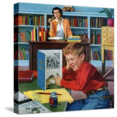 """""""Frog in the Library"""", February 25, 1956-Richard Sargent-Stretched Canvas Print"""