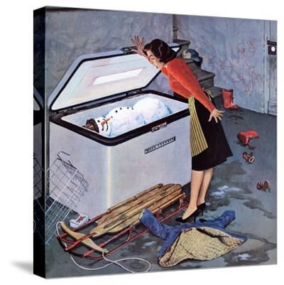 """""""Frosty in the Freezer"""", February 21, 1959-John Falter-Stretched Canvas Print"""