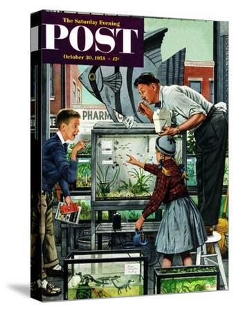 """Fish Aquarium"" Saturday Evening Post Cover, October 30, 1954-Stevan Dohanos-Stretched Canvas Print"
