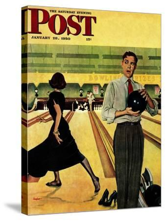 """Bowling Strike"" Saturday Evening Post Cover, January 28, 1950-George Hughes-Stretched Canvas Print"