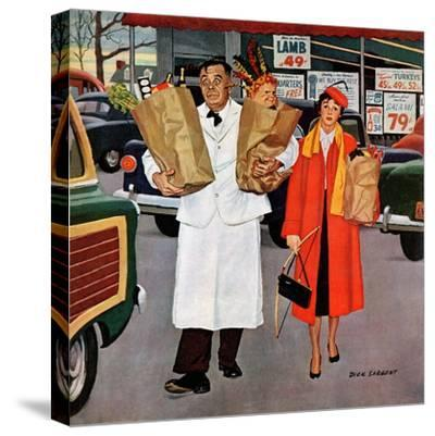 """""""Sack Full of Trouble"""", April 14, 1956-Richard Sargent-Stretched Canvas Print"""