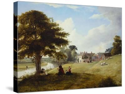 A River Landscape, with a Woman Sketching, a Girl and Her Dog by a Tree, and Other Children and…-Sarah Ferneley-Stretched Canvas Print