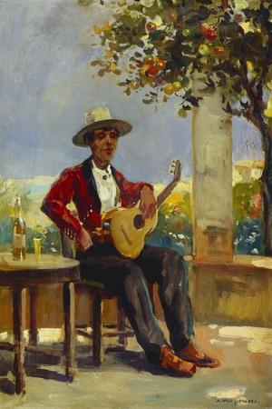 The Guitar Player-Julio Vila y Prades-Stretched Canvas Print