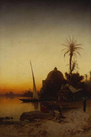 Arabs at Prayer by the Nile-Hermann Corrodi-Stretched Canvas Print