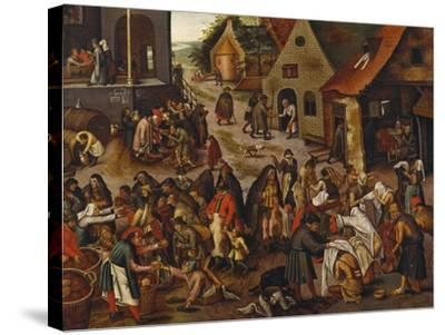 The Seven Acts of Mercy-Pieter Bruegel the Elder-Stretched Canvas Print