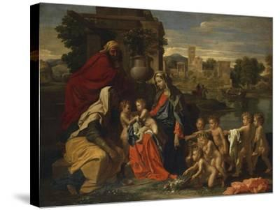 The Holy Family with the Infant Saint John the Baptist and Saint Elizabeth, and with Six Putti…-Nicolas Poussin-Stretched Canvas Print