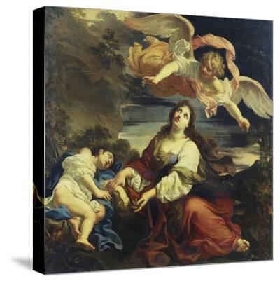 The Angel Appearing to Hagar and Ishmael in the Desert-Giuseppe Ghezzi (Attr to)-Stretched Canvas Print