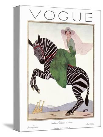 Vogue Cover - January 1926 - Zebra Safari--Stretched Canvas Print