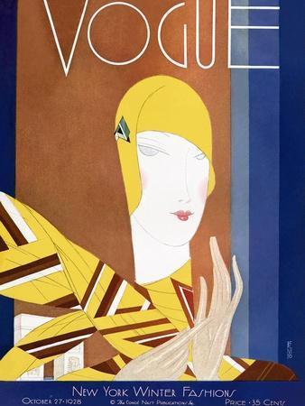 Vogue Cover - October 1928-Eduardo Garcia Benito-Stretched Canvas Print