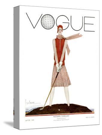 Vogue Cover - July 1929 - Tee Time-Georges Lepape-Stretched Canvas Print