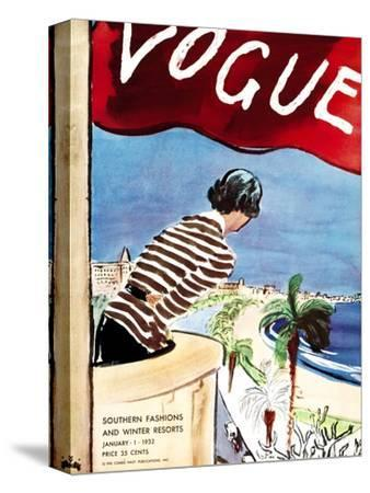 "Vogue Cover - January 1932-Carl ""Eric"" Erickson-Stretched Canvas Print"
