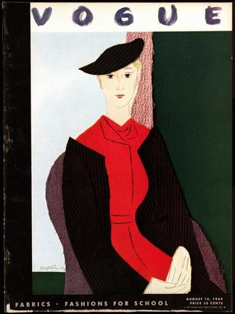 Vogue Cover - August 1934-R.S. Grafstrom-Stretched Canvas Print