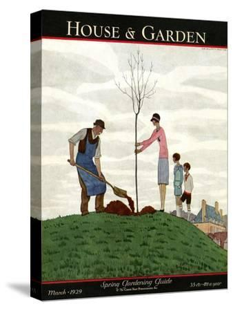 House & Garden Cover - March 1929-Andr? E. Marty-Stretched Canvas Print